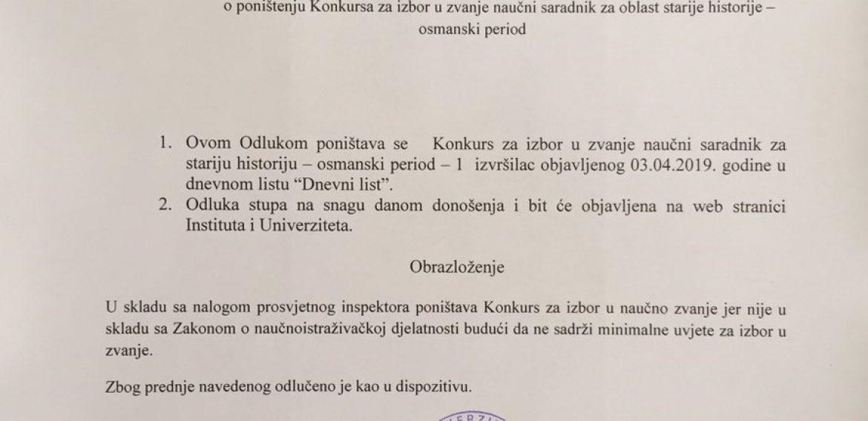 Poništenje konkursa za izbor u zvanje naučni saradnik za stariju historiju – osmanski period